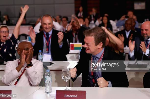 Newly elected International Paralympic Committee President Andrew Parsons reacts during the IPC General Assembly and Conference 2017 at Abu Dhabi...