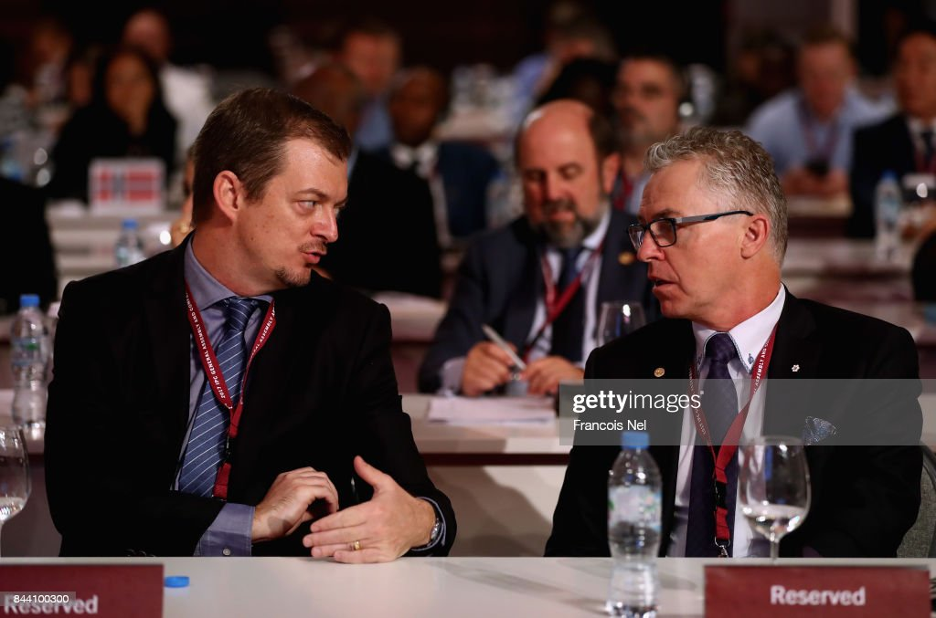 Newly elected International Paralympic Committee President Andrew Parsons speaks to Partrick Jarvis of Canada during the IPC General Assembly and Conference 2017 at Abu Dhabi National Exhibition Centre on September 8, 2017 in Abu Dhabi, United Arab Emirates.