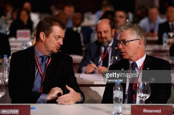 Newly elected International Paralympic Committee President Andrew Parsons speaks to Partrick Jarvis of Canada during the IPC General Assembly and...