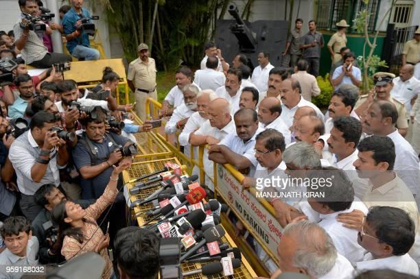 Newly elected Janatha Dal Legislative Party Leader HD Kumaraswamy addresses the media in Bangalore on May 16 2018 Karnataka faces a hung verdict...