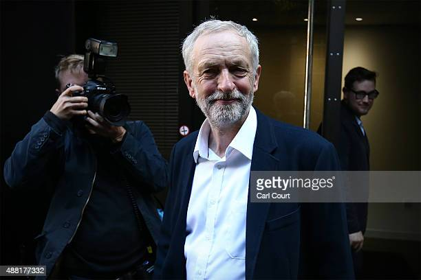 Newly elected Labour Party leader Jeremy Corbyn leaves the Labour Party headquarters on September 14 2015 in London England Since being elected...