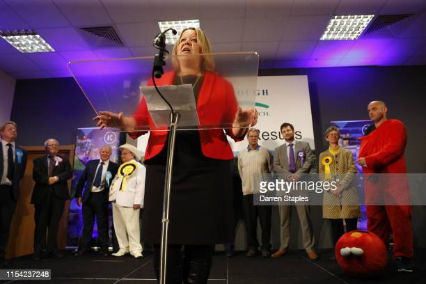 Newly elected Labour Party MP Lisa Forbes speaks at the byelection count centre on June 07 2019 in Peterborough England Brexit Party candidate Mike...