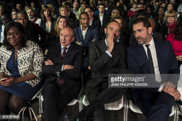 Newly elected leader of the Republic on the Move Christophe Castaner French Prime Minister Edouard Philippe French Interior Minister Gerard Collomb...