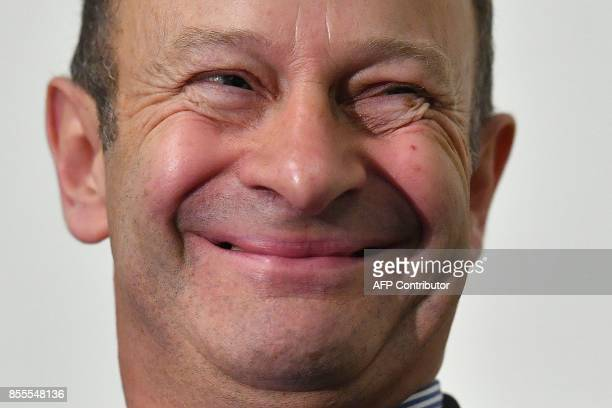 Newly elected leader of the UK Independence Party Henry Bolton reacts during a press conference on the first day of the UK Independence Party...