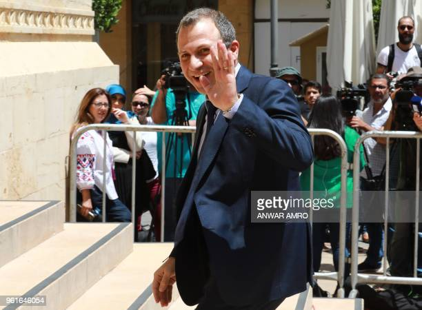 Newly elected Lebanese MP Gebran Bassil arrives at Lebanon's parliament in the capital Beirut ahead of a session to elect a new speaker on May 23...