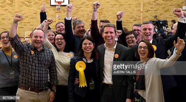 Newly elected Liberal Democrat MP for Richmond Park Sarah Olney celebrates with her husband Ben and party supporters after winning her seat in...
