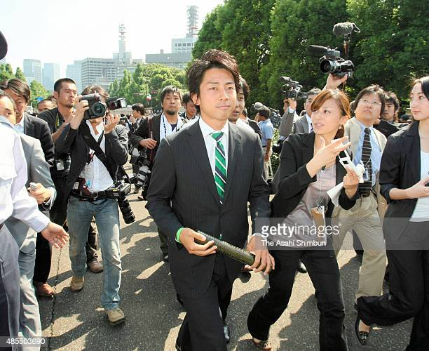 Newly elected Liberal Democratic Party lawmaker Shinjiro Koizumi is seen on arrival at the diet building on September 16 2009 in Tokyo Japan