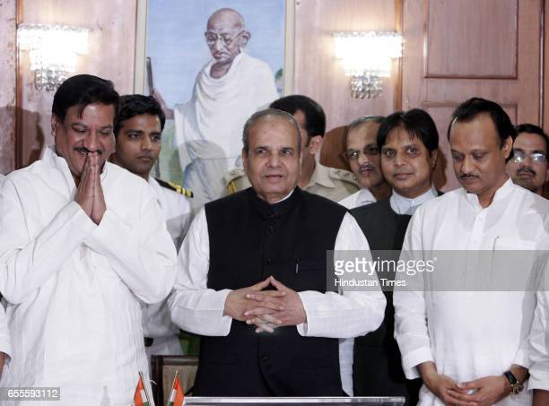Newly elected maharastra chief minister Prithviraj Chavan and dycm Ajit Pawar submit 170 mla list to governor Sankarayanan forming govermentat raj...