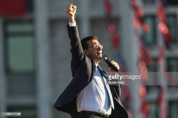 Newly elected Mayor of Istanbul Ekrem Imamoglu of the main opposition Republican People's Party speaks to supporters after taking the Mayoral mandate...