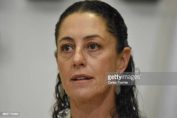 Newly elected Mayor of Mexico City Claudia Sheinbaum looks on during a press conference at Antiguo Palacio del Ayuntamiento on July 5 2018 in Mexico...