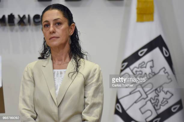 Newly elected Mayor of Mexico City Claudia Sheinbaum speaks during a press conference at Antiguo Palacio del Ayuntamiento on July 5 2018 in Mexico...