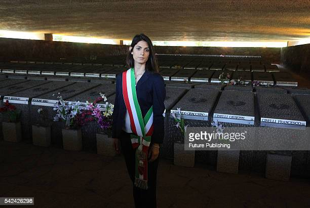 Newly elected mayor of Rome Virginia Raggi attends a ceremony at the Fosse Ardeatine memorial on June 23 2016 in Italy Rome PHOTOGRAPH BY Marco...