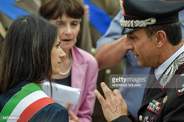 Newly elected mayor of Rome Virginia Raggi attends a ceremony on June 23 2016 at the Vittoriano the tomb of the Unknown Soldier at Piazza Venezia in...