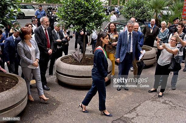 Newly elected mayor of Rome Virginia Raggi attends a wreathlaying ceremony at the Jewish Synagogue on June 23 2016 in Rome Italy