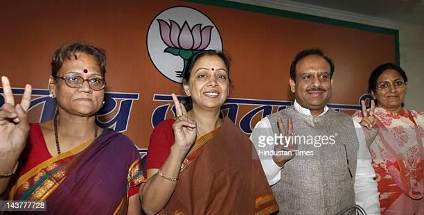 Newly Elected MCD Mayors Annapurna Mishra of East Delhi Meera Aaggarwal of North Delhi and Savita Gupta of South Delhi's with party president...