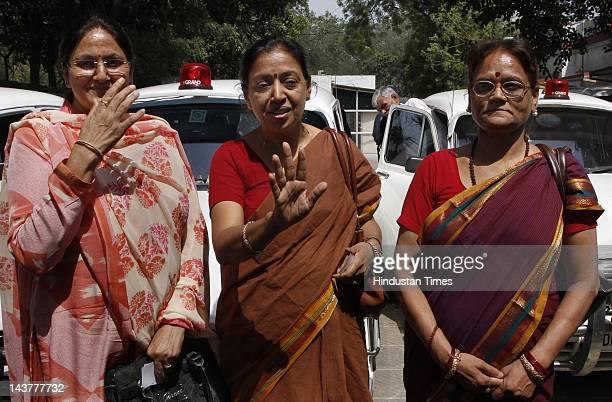 Newly elected MCD Mayors Annapurna Mishra of East Delhi Meera Aaggarwal of North Delhi and Savita Gupta of South Delhi attend a press conference at...