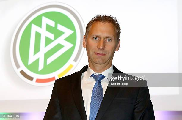 Newly elected member of the DFB executive board Ansgar Schwenken poses for a picture prior to day 2 of the 42nd DFB Bundestag at Messe Erfurt on...