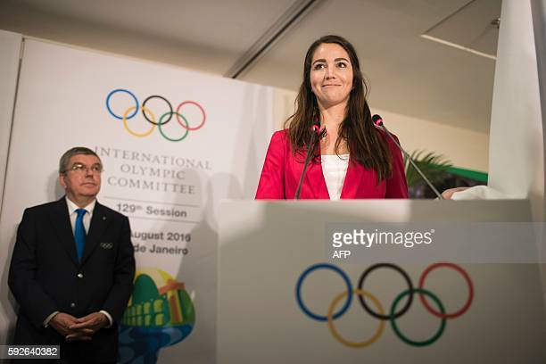 Newly elected member of the IOC Athletes Commission Sarah Walker of New Zealand takes oath during the election of new IOC members in the IOC 129th...