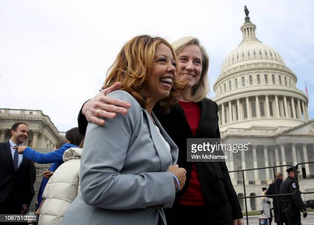 Newly elected members of the House of Representatives Abigail Spanberger and Lucy McBath meet in front of the US Capitol following an official class...