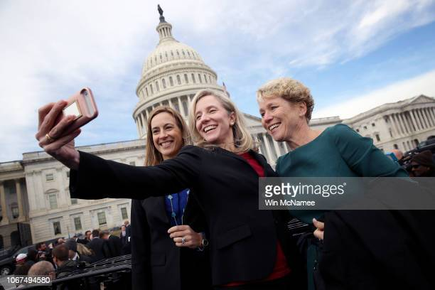 Newly elected members of the House of Representatives Abigail Spanberger Mikie Sherrill and Chrissy Houlahan take a selfie in front of the US Capitol...