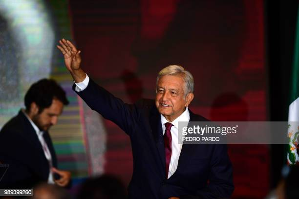 Newly elected Mexico's President Andres Manuel Lopez Obrador running for Juntos haremos historia party cheers his supporters at a hotel after winning...