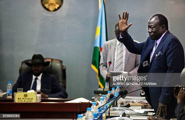 Newly elected Minister of Interior and former rebel member Alfred Ladu Gore greets the President of South Sudan Salva Kiir and the 30 newly elected...