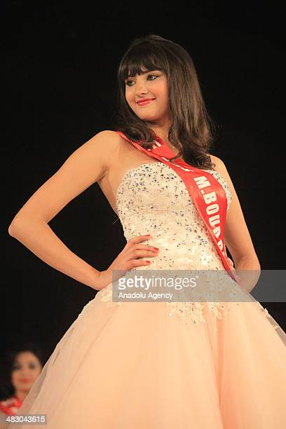 Newly elected Miss Tunisia Wahiba Arres poses for a picture following her election in Tunis on April 6 2014