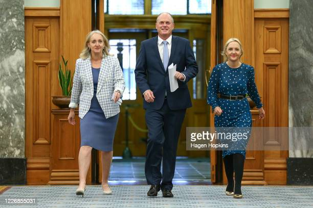 Newly elected National Party Leader Todd Muller Amy Adams and Deputy Leader Nikki Kaye arrive at a press conference to announce a new Shadow Cabinet...
