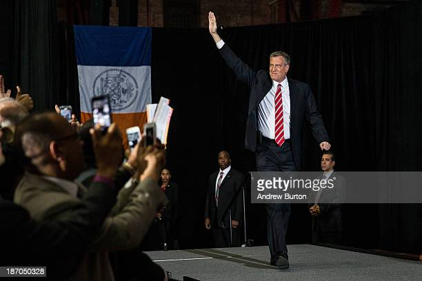 Newly elected New York City Mayor Bill de Blasio walks out on stage at his election night party on November 5, 2013 in New York City. De Blasio beat...
