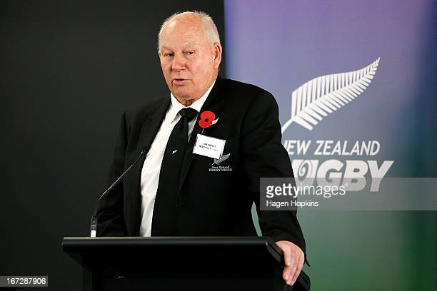 Newly elected NZRU President Ian MacRae speaks during the New Zealand Rugby Union Annual General Meeting at New Zealand Rugby House on April 24, 2013...