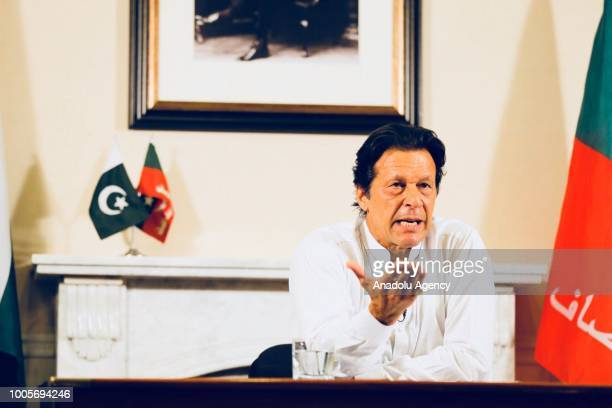 Newly elected Pakistani Prime Minister and leader of Pakistan Movement for Justice Imran Khan addresses to the nation after the general elections...