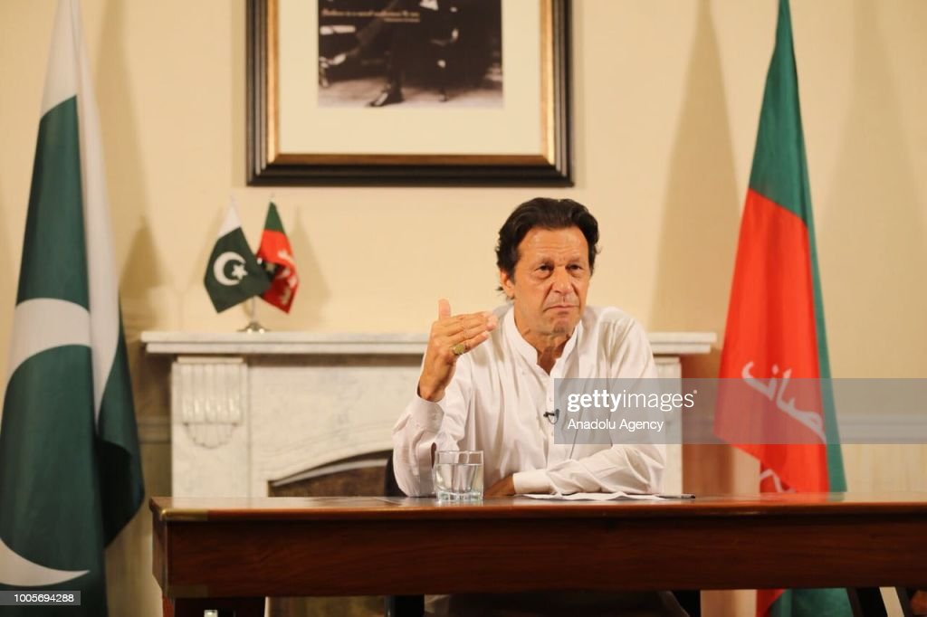 Newly elected Pakistani Prime Minister and leader of Pakistan Movement for Justice Imran Khan addresses to the nation after the general elections results are announced in Islamabad, Pakistan on July 26, 2018.