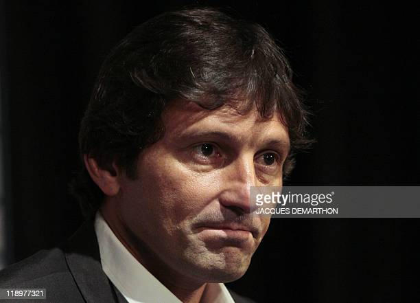 Newly elected Paris SaintGermain's sporting director Leonardo former Brazil international midfielder gis pictured during a press conference at the...