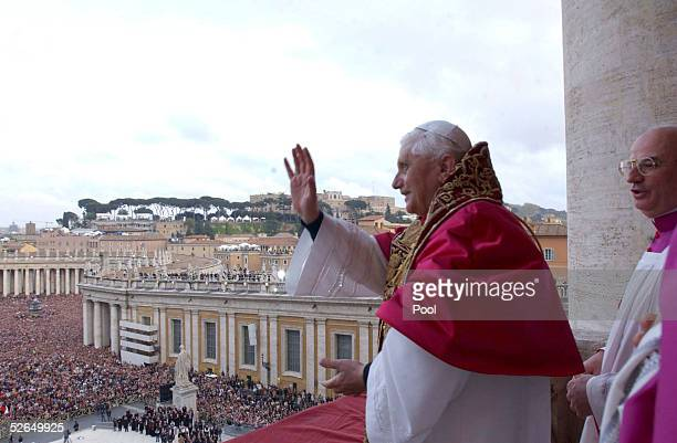 Newly elected Pope Joseph Ratzinger as Benedetto XVI appears on the central balcony of St Peter's Basilica on April 19 2005 in Vatican City The 265th...