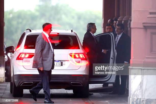 Newly elected president centreleft Peronist Alberto Fernandez enters Casa Rosada to meet incumbent Mauricio Macri on the day after the presidential...