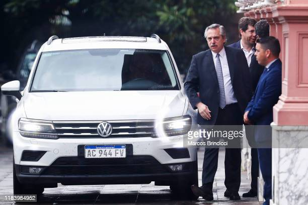 Newly elected president centre-left Peronist Alberto Fernandez leaves Casa Rosada after meeting incumbent Mauricio Macri on the day after the...