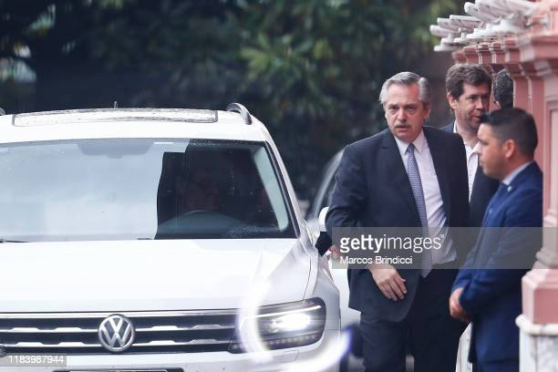 Newly elected president centreleft Peronist Alberto Fernandez leaves Casa Rosada after meeting incumbent Mauricio Macri on the day after the...