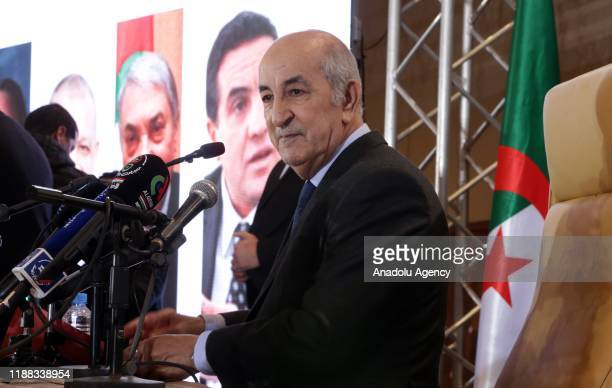 Newly Elected President of Algeria Abdelmadjid Tebboune holds a press conference in Algiers Algeria on December 13 2019 In a landslide victory...