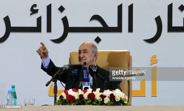 Newly Elected President of Algeria Abdelmadjid Tebboune holds a press conference in Algiers, Algeria on December 13, 2019. In a landslide victory,...