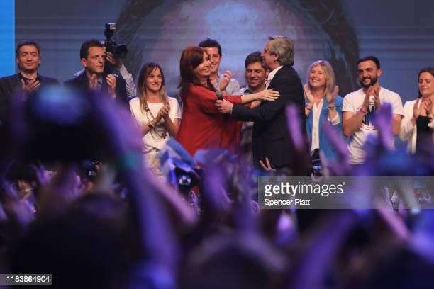 Newly elected President of Argentina Alberto Fernandez and his running mate Cristina Fernández de Kirchner walks out on stage after winning in the...