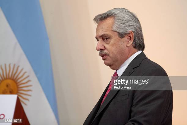 Newly elected President of Argentina Alberto Fernandez looks on during a press conference after a meeting with mexican President Andres Manuel Lopez...