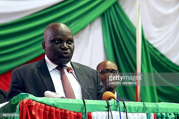 Newly elected president of Burundi's National Assembly Pascal Nyabenda of the ruling party CNDDFDD delivers a speech after his election in Parliament...