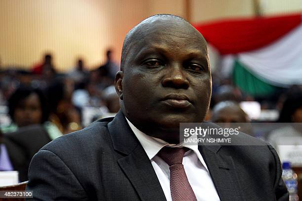 Newly elected president of Burundi's National Assembly Pascal Nyabenda of the ruling party CNDDFDD sits during the election in Parliament in...