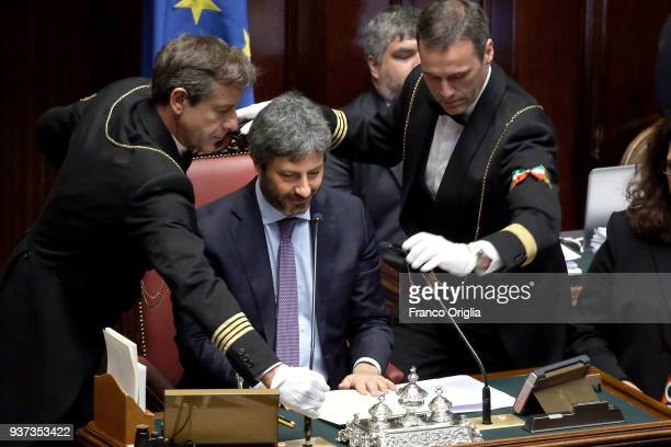 Newly elected President of Chamber of Deputies Roberto Fico of Five Stars Movement holds his speech as president at Palazzo Montecitorio on March 24,...
