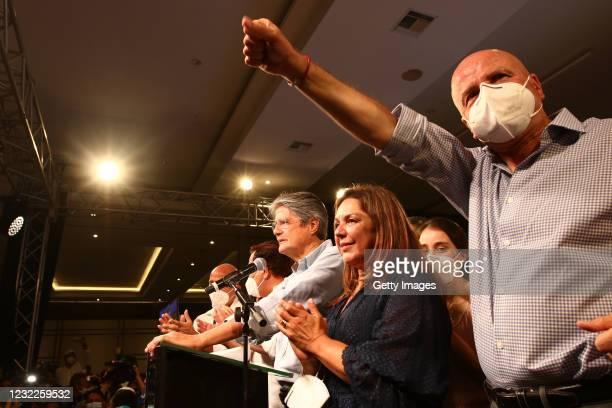 Newly elected President of Ecuador Guillermo Lasso celebrates after winning the presidential runoff against candidate of Unión Por La Esperanza...
