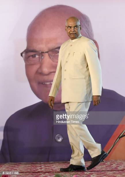 Newly elected President of India Ram Nath Kovind after winning Presidential election at 10 Akbar Road on July 20 2017 in New Delhi India NDA...