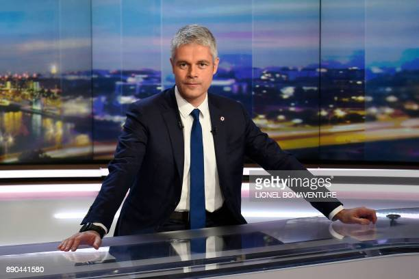 Newly elected president of Les Republicains rightwing party Laurent Wauquiez looks on before appearing on Le Journal de 20h program on TF1 television...