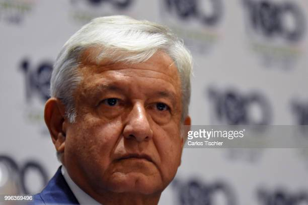 Newly elected President of Mexico Andres Manuel Lopez Obrador looks on during a press conference after a meeting between newly elected President of...