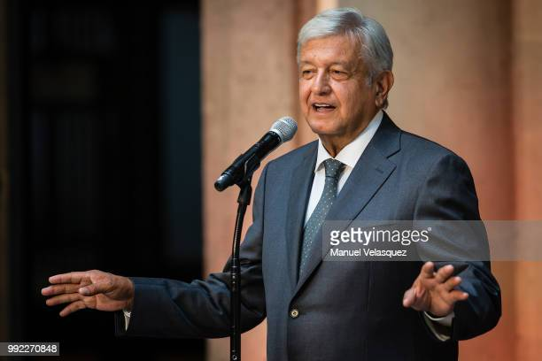 Newly elected President of Mexico Andres Manuel Lopez Obrador speaks during a press conference after a private meeting with Outgoing President...