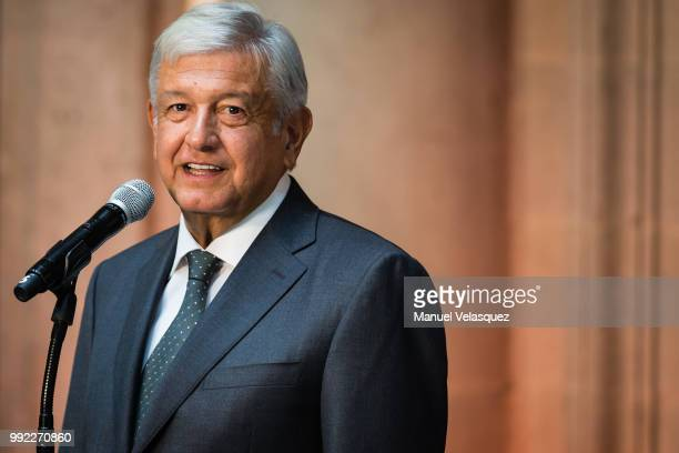 Newly elected President of Mexico, Andres Manuel Lopez Obrador, speaks during a press conference to the media after a private meeting with Outgoing...